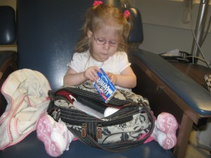 Occupying herself while waiting for the MRI